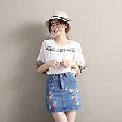 レディース シンプル Aライン カジュアル/普段着 ミニ スカート 刺繍 フラワー 秋