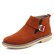 Hombre Zapatos Cuero real Ante Otoño Invierno Botas de Combate Botas Remache Tirantes Trenza Para Casual Azul Oscuro Gris Marrón