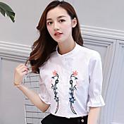 レディース カジュアル/普段着 シャツ,シンプル スタンド 刺繍 コットン ハーフスリーブ
