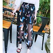 Mujer Boho Tiro Alto Microelástico Perneras anchas Chinos Pantalones,Floral Verano