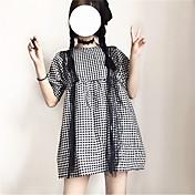 レディース カジュアル/普段着 Tシャツ,シンプル ラウンドネック 水玉 コットン 半袖