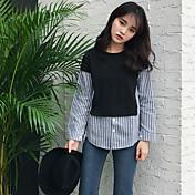 Mujer Chic de Calle Casual/Diario Camisa,Escote Redondo A Rayas Bloques Manga Larga Algodón