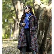 レディース 綿 冬 コート,ヴィンテージ Vネック 幾何学模様 ロング ウール コットン アクリル 長袖