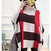 Mujer Regular Pullover Casual/Diario Bloques Cuello Alto Manga Larga Algodón Grueso Microelástico
