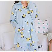 Mujer Traje Pijamas, Fruta Medio Algodón Poliéster Rosa Azul claro