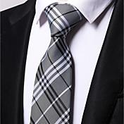 Hombre Todas las Temporadas Trabajo Casual Poliéster Corbata,Rayas Gris