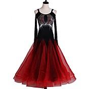 ボールルームダンス ドレス 女性用 ダンスパフォーマンス ナイロン オーガンザ 長袖 ハイウエスト ドレス