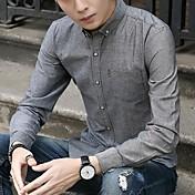 Hombre Chic de Calle Casual/Diario Camisa,Escote Cuadrado Un Color Manga Larga Algodón Poliéster
