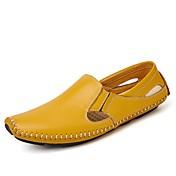 Hombre Zapatos PU Primavera Otoño Confort Mocasín Zapatos de taco bajo y Slip-On Para Casual Blanco Negro Amarillo Azul