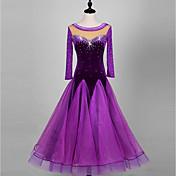 ボールルームダンス ドレス 女性用 ダンスパフォーマンス オーガンザ ベルベット 長袖 ハイウエスト ドレス