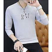 メンズ シンプル カジュアル/普段着 プラスサイズ スウェットシャツ プリント コットン その他 長袖