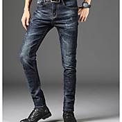 Hombre Casual Tiro Medio Microelástico Vaqueros Pantalones,Un Color Invierno Otoño