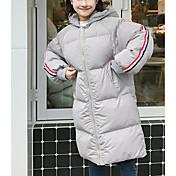 Abrigo Acolchado Mujer Simple Algodón,Un Color Algodón Manga Larga,