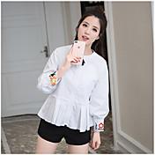 レディース お出かけ カジュアル/普段着 シャツ,キュート ラウンドネック 刺繍 コットン 長袖