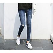 Mujer Casual Tiro Alto Rígido Pantalones Vaqueros Pantalones,Un Color Hueco Algodón Todas las Temporadas