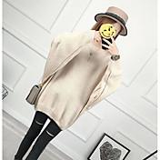 Mujer Regular Pullover Ropa Cotidiana Simple,Un Color Escote Redondo Manga Larga Algodón Primavera/Otoño Medio Microelástico