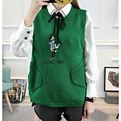 Mujer Regular Pullover Casual/Diario Simple,Un Color Escote Redondo Manga Larga Lana Algodón Acrílico Poliéster Otoño Medio Microelástico