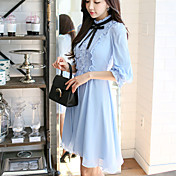 Mujer Línea A Vestido Fiesta Trabajo Vintage Bonito,Un Color Cuello Barco Hasta la Rodilla Mangas 3/4 Poliéster Primavera Otoño Tiro Medio