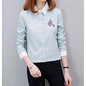 レディース カジュアル/普段着 シャツ,キュート スクエアネック ストライプ コットン 長袖