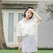 Mujer Activo Casual/Diario Primavera Verano Camisa,Escote Chino Un Color La mitad de manga Algodón Fino