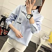 Mujer Activo Ropa Cotidiana Camisa,Cuello Camisero Estampado Manga Larga Algodón