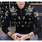 Hombre Chic de Calle Casual/Diario Camiseta,Cuello Camisero Estampado Manga Larga Algodón