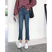 Mujer Simple Tiro Medio Microelástico Pantalones Pantalones,Pantalones Un Color