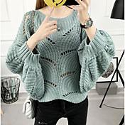 Mujer Regular Cardigan Casual/Diario Un Color Escote Redondo Manga Larga Algodón Otoño Invierno Medio Microelástico