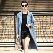 レディース カジュアル/普段着 お出かけ 秋 冬 コート,シンプル ストリートファッション ソリッド ロング ウール 長袖