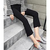 Mujer Casual Tiro Medio Microelástico Pantalones Pantalones,Un Color Todas las Temporadas