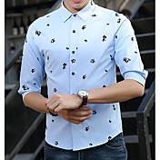Hombre Chic de Calle Casual/Diario Camisa,Cuello Camisero Estampado Manga Larga Algodón Poliéster