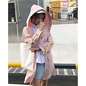 Mujer Bonito Activo Ropa Cotidiana Festivos Otoño Invierno Gabardina,Escote Redondo Un Color Manga Larga Algodón / nylon con un toque de