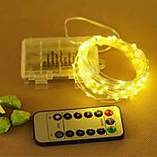 10 m 33 pies de alambre de cobre de plata led luz de la cadena de hadas guirnalda decorativa con 8 modos de control remoto con pilas