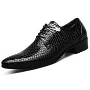 男性用 靴 PUレザー レザーレット 春 秋 コンフォートシューズ オックスフォードシューズ のために カジュアル ブラック ブルー
