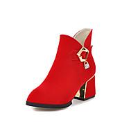 Mujer Zapatos Semicuero Invierno Botas de Moda Botas Tacón Robusto Dedo Puntiagudo Botines/Hasta el Tobillo Hebilla Cremallera Para