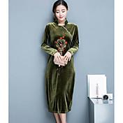 Mujer Trabajo Corte Ancho Vestido Cosecha Alta cintura Midi Escote Chino / Primavera / Otoño