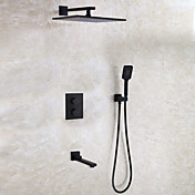 コンテンポラリー 壁式 レインシャワー サーモスタットタイプ with  セラミックバルブ 二つのハンドル4つの穴 for  ブラック , シャワー水栓