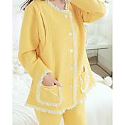 Mujer Traje Pijamas,Creativo Algodón Poliéster Amarillo