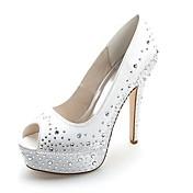 Mujer Zapatos Satén Primavera Verano Pump Básico Zapatos de boda Tacón Stiletto Punta abierta Pedrería para Boda Fiesta y Noche Rojo Azul