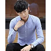 メンズ カジュアル/普段着 シャツ,ストリートファッション シャツカラー ストライプ ポリエステル 長袖