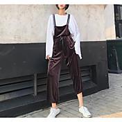 Mujer Casual Tiro Medio Microelástico Perneras anchas Bib Tights Pantalones,Un Color Otoño
