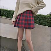 Mujer Escuela Longitud Pequeña Faldas,Falda Primavera/Otoño Ajedrez