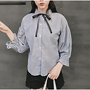 レディース カジュアル/普段着 シャツ,キュート シャツカラー ストライプ ポリエステル 長袖