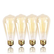 4pcs 60W E26/E27 ST64 Blanco Cálido 2200 K Retro Regulable Decorativa Bombilla incandescente Vintage Edison AC 100-240 V