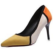 Mujer Zapatos PU Invierno Confort Pump Básico Tacones Tacón Stiletto Dedo Puntiagudo para Vestido Negro Amarillo Rojo