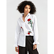 Mujer Vintage Camisa,Cuello Camisero Bordado Manga Larga Algodón