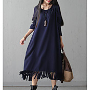 Mujer Corte Ancho Vestido Casual/Diario Simple,Un Color Escote en U Midi Mangas largas Algodón Primavera Otoño Tiro Medio Microelástico