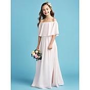Corte en A / Princesa Hombros Caídos Hasta el Suelo Raso Vestido de Dama de honor junior       con Plisado por LAN TING BRIDE®