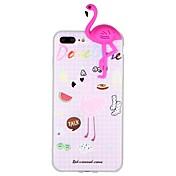 Funda Para Apple iPhone 7 iPhone 6 Diseños Manualidades Cubierta Trasera Flamenco Animal Dibujo 3D Suave TPU para iPhone X iPhone 8 Plus