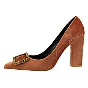 Mujer Zapatos Semicuero Primavera Otoño Confort Tacones Tacón Cuadrado Dedo Puntiagudo para Fiesta y Noche Negro Gris Marrón Rojo Verde